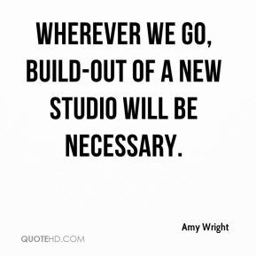 Amy Wright - Wherever we go, build-out of a new studio will be necessary.