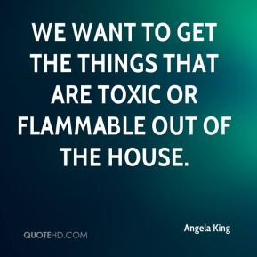 We want to get the things that are toxic or flammable out of the house.