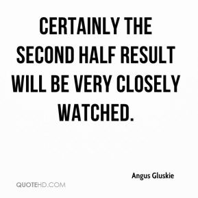 Angus Gluskie - Certainly the second half result will be very closely watched.