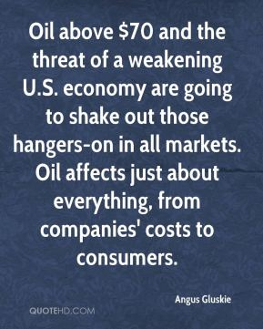 Angus Gluskie - Oil above $70 and the threat of a weakening U.S. economy are going to shake out those hangers-on in all markets. Oil affects just about everything, from companies' costs to consumers.