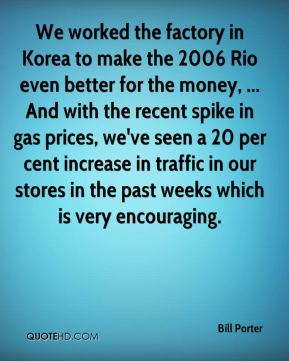 Bill Porter - We worked the factory in Korea to make the 2006 Rio even better for the money, ... And with the recent spike in gas prices, we've seen a 20 per cent increase in traffic in our stores in the past weeks which is very encouraging.