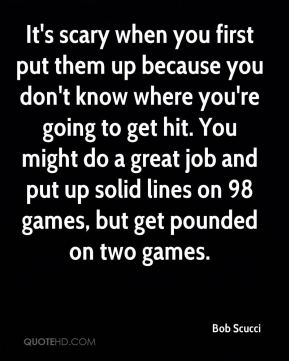 It's scary when you first put them up because you don't know where you're going to get hit. You might do a great job and put up solid lines on 98 games, but get pounded on two games.