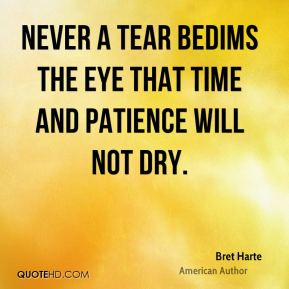 Bret Harte - Never a tear bedims the eye that time and patience will not dry.