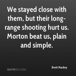 Brett Mackey - We stayed close with them, but their long-range shooting hurt us. Morton beat us, plain and simple.