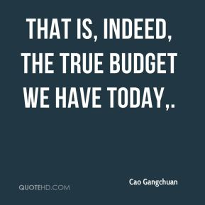 That is, indeed, the true budget we have today.