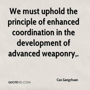 Cao Gangchuan - We must uphold the principle of enhanced coordination in the development of advanced weaponry.