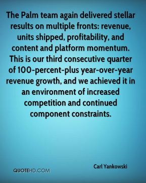 Carl Yankowski - The Palm team again delivered stellar results on multiple fronts: revenue, units shipped, profitability, and content and platform momentum. This is our third consecutive quarter of 100-percent-plus year-over-year revenue growth, and we achieved it in an environment of increased competition and continued component constraints.
