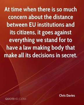 Chris Davies - At time when there is so much concern about the distance between EU institutions and its citizens, it goes against everything we stand for to have a law making body that make all its decisions in secret.
