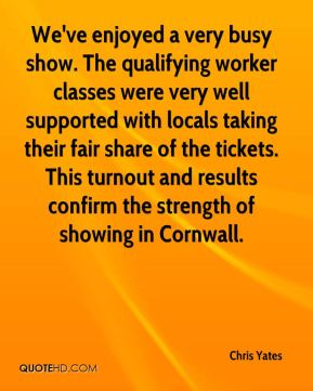 Chris Yates - We've enjoyed a very busy show. The qualifying worker classes were very well supported with locals taking their fair share of the tickets. This turnout and results confirm the strength of showing in Cornwall.