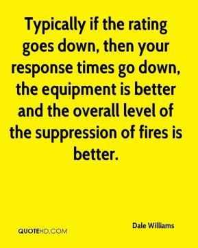 Dale Williams - Typically if the rating goes down, then your response times go down, the equipment is better and the overall level of the suppression of fires is better.