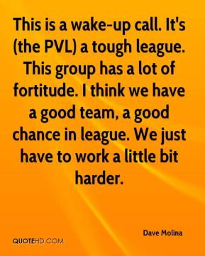 Dave Molina - This is a wake-up call. It's (the PVL) a tough league. This group has a lot of fortitude. I think we have a good team, a good chance in league. We just have to work a little bit harder.
