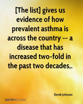 Derek Johnson - [The list] gives us evidence of how prevalent asthma is across the country -- a disease that has increased two-fold in the past two decades.