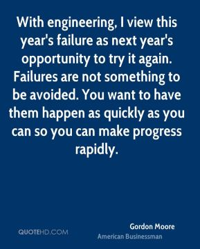 Gordon Moore - With engineering, I view this year's failure as next year's opportunity to try it again. Failures are not something to be avoided. You want to have them happen as quickly as you can so you can make progress rapidly.