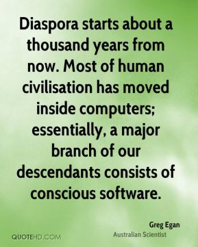 Greg Egan - Diaspora starts about a thousand years from now. Most of human civilisation has moved inside computers; essentially, a major branch of our descendants consists of conscious software.
