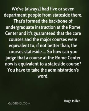 Hugh Miller - We've [always] had five or seven department people from stateside there. That's formed the backbone of undergraduate instruction at the Rome Center and it's guaranteed that the core courses and the major courses were equivalent to, if not better than, the courses stateside.... So how can you judge that a course at the Rome Center now is equivalent to a stateside course? You have to take the administration's word.