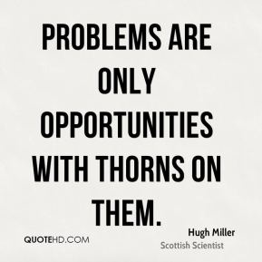 Problems are only opportunities with thorns on them.