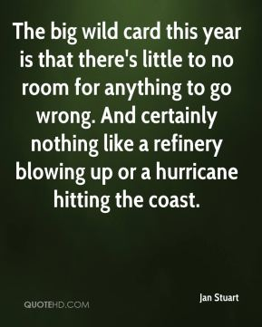 Jan Stuart  - The big wild card this year is that there's little to no room for anything to go wrong. And certainly nothing like a refinery blowing up or a hurricane hitting the coast.