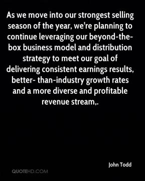 John Todd  - As we move into our strongest selling season of the year, we're planning to continue leveraging our beyond-the-box business model and distribution strategy to meet our goal of delivering consistent earnings results, better- than-industry growth rates and a more diverse and profitable revenue stream.