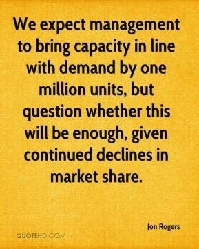 Jon Rogers  - We expect management to bring capacity in line with demand by one million units, but question whether this will be enough, given continued declines in market share.