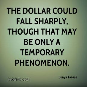 Junya Tanase  - The dollar could fall sharply, though that may be only a temporary phenomenon.