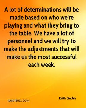 A lot of determinations will be made based on who we're playing and what they bring to the table. We have a lot of personnel and we will try to make the adjustments that will make us the most successful each week.