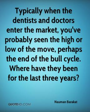 Typically when the dentists and doctors enter the market, you've probably seen the high or low of the move, perhaps the end of the bull cycle. Where have they been for the last three years?