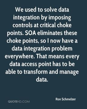 We used to solve data integration by imposing controls at critical choke points. SOA eliminates these choke points, so I now have a data integration problem everywhere. That means every data access point has to be able to transform and manage data.