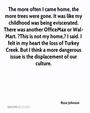 The more often I came home, the more trees were gone. It was like my childhood was being eviscerated. There was another OfficeMax or Wal-Mart. ?This is not my home,? I said. I felt in my heart the loss of Turkey Creek. But I think a more dangerous issue is the displacement of our culture.