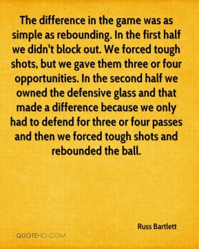 Russ Bartlett  - The difference in the game was as simple as rebounding. In the first half we didn't block out. We forced tough shots, but we gave them three or four opportunities. In the second half we owned the defensive glass and that made a difference because we only had to defend for three or four passes and then we forced tough shots and rebounded the ball.