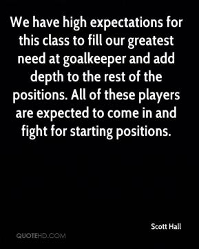We have high expectations for this class to fill our greatest need at goalkeeper and add depth to the rest of the positions. All of these players are expected to come in and fight for starting positions.