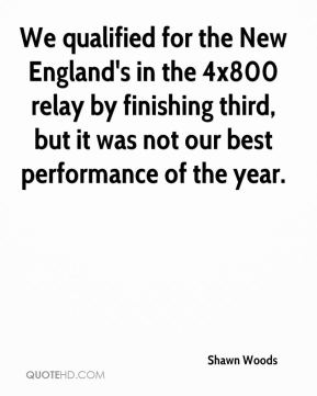 We qualified for the New England's in the 4x800 relay by finishing third, but it was not our best performance of the year.