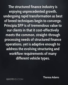 Theresa Adams  - The structured finance industry is enjoying unprecedented growth, undergoing rapid transformation as best of breed techniques begin to converge. Principia SFP is of tremendous value to our clients in that it cost-effectively meets the common, straight-through processing needs of structured finance operations, yet is adaptive enough to address the evolving structuring and workflow requirements of many different vehicle types.