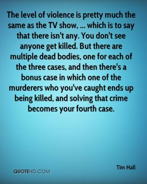 The level of violence is pretty much the same as the TV show, ... which is to say that there isn't any. You don't see anyone get killed. But there are multiple dead bodies, one for each of the three cases, and then there's a bonus case in which one of the murderers who you've caught ends up being killed, and solving that crime becomes your fourth case.