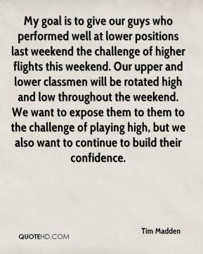 Tim Madden  - My goal is to give our guys who performed well at lower positions last weekend the challenge of higher flights this weekend. Our upper and lower classmen will be rotated high and low throughout the weekend. We want to expose them to them to the challenge of playing high, but we also want to continue to build their confidence.