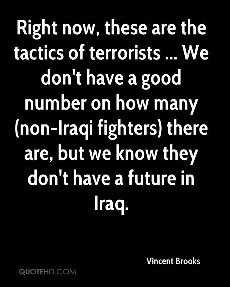 Right now, these are the tactics of terrorists ... We don't have a good number on how many (non-Iraqi fighters) there are, but we know they don't have a future in Iraq.
