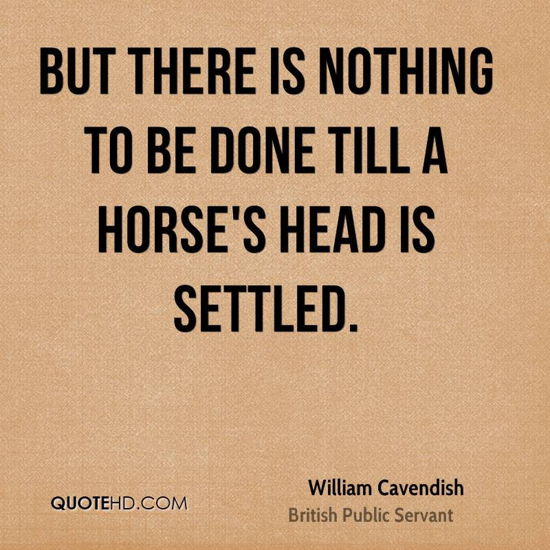 But there is nothing to be done till a horse's head is settled.