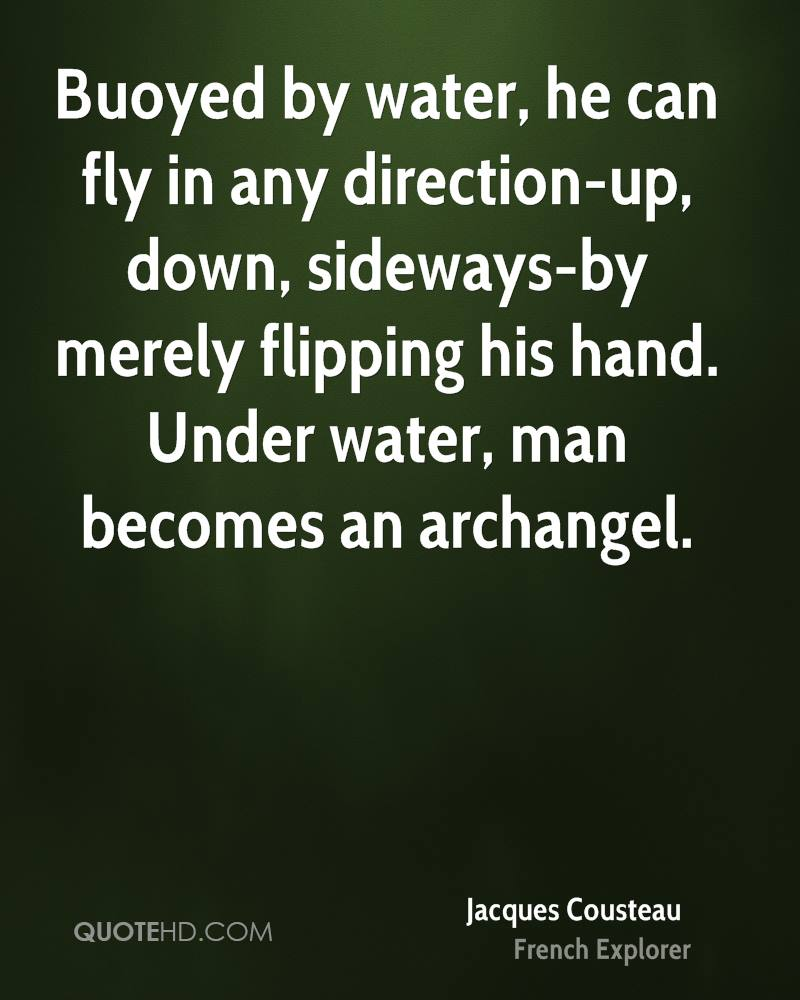 Buoyed by water, he can fly in any direction-up, down, sideways-by merely flipping his hand. Under water, man becomes an archangel.