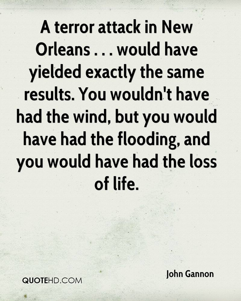 A terror attack in New Orleans . . . would have yielded exactly the same results. You wouldn't have had the wind, but you would have had the flooding, and you would have had the loss of life.