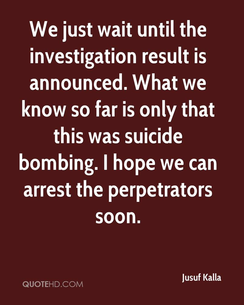 We just wait until the investigation result is announced. What we know so far is only that this was suicide bombing. I hope we can arrest the perpetrators soon.