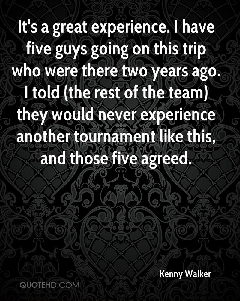 It's a great experience. I have five guys going on this trip who were there two years ago. I told (the rest of the team) they would never experience another tournament like this, and those five agreed.