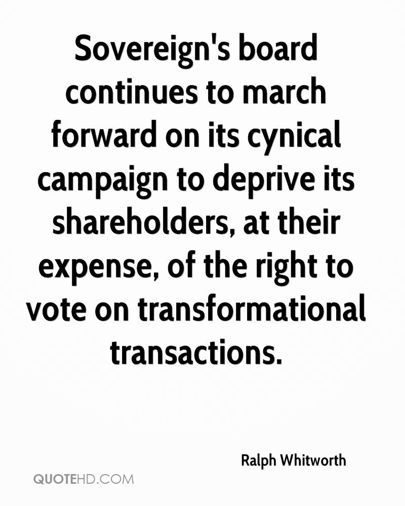 Sovereign's board continues to march forward on its cynical campaign to deprive its shareholders, at their expense, of the right to vote on transformational transactions.