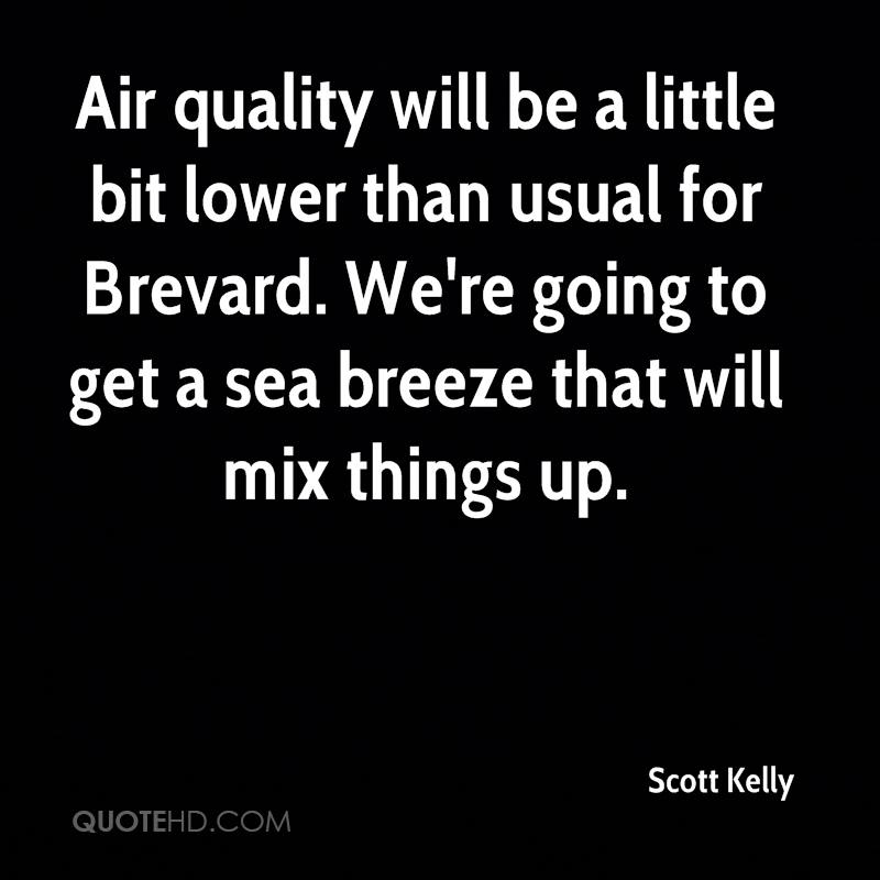 Air quality will be a little bit lower than usual for Brevard. We're going to get a sea breeze that will mix things up.