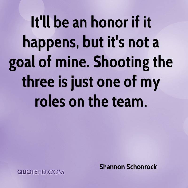 It'll be an honor if it happens, but it's not a goal of mine. Shooting the three is just one of my roles on the team.