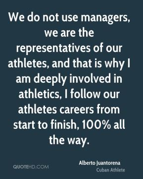 We do not use managers, we are the representatives of our athletes, and that is why I am deeply involved in athletics, I follow our athletes careers from start to finish, 100% all the way.