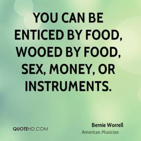 Bernie Worrell - You can be enticed by food, wooed by food, sex, money, or instruments.
