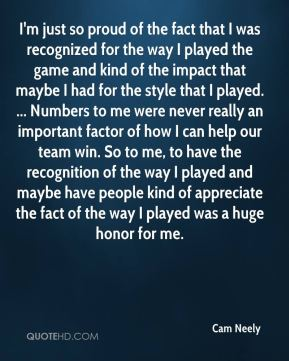 I'm just so proud of the fact that I was recognized for the way I played the game and kind of the impact that maybe I had for the style that I played. ... Numbers to me were never really an important factor of how I can help our team win. So to me, to have the recognition of the way I played and maybe have people kind of appreciate the fact of the way I played was a huge honor for me.