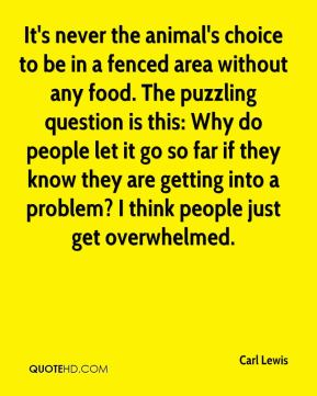 It's never the animal's choice to be in a fenced area without any food. The puzzling question is this: Why do people let it go so far if they know they are getting into a problem? I think people just get overwhelmed.