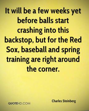 Charles Steinberg - It will be a few weeks yet before balls start crashing into this backstop, but for the Red Sox, baseball and spring training are right around the corner.
