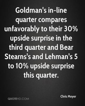 Chris Meyer - Goldman's in-line quarter compares unfavorably to their 30% upside surprise in the third quarter and Bear Stearns's and Lehman's 5 to 10% upside surprise this quarter.