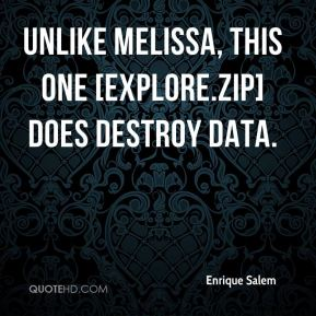 Unlike Melissa, this one [Explore.Zip] does destroy data.